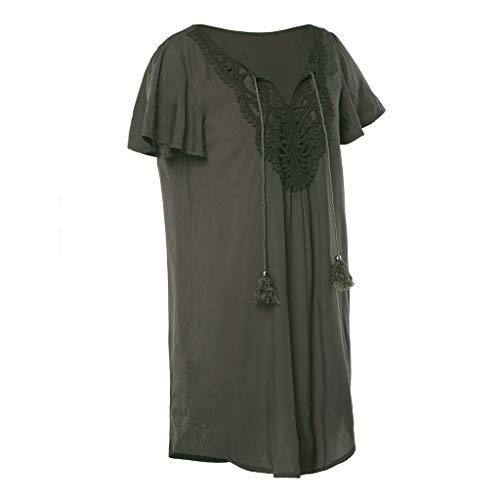 Lâche Summer Army Robe En Couture À Produp Dress Dentelle Femmes Courtes Col Fashion Manches Profonde Green Mini V xaqfx7Opnw
