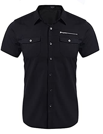 Coofandy Men's Casual Short-Sleeve Pocket Button Down Oxford Dress ...