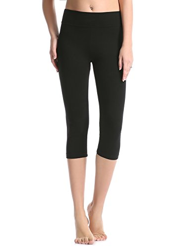 ABUSA Cotton Yoga Capri Pants Women's Tummy Control Workout Leggings Non See-Through Fabric L Black ()