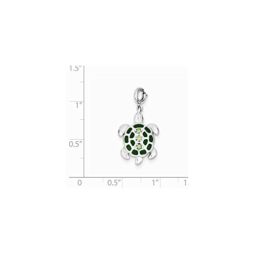 - Sterling Silver Green Preciosa Crystal and Enameled Turtle Pendant