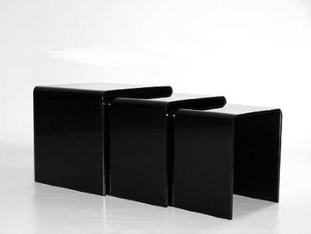 Milan bent glass nest of 3 black side tables amazon kitchen milan bent glass nest of 3 black side tables watchthetrailerfo
