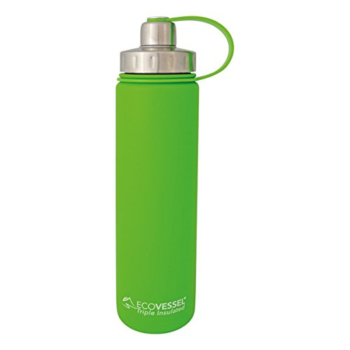 EcoVessel BOULDER TriMax Dual Opening Insulated Stainless Steel Water Bottle with Tea - Fruit and Ice Strainer - 24 oz. - Green