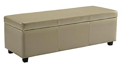 Simpli Home Avalon Rectangular Faux Leather Storage Ottoman Bench