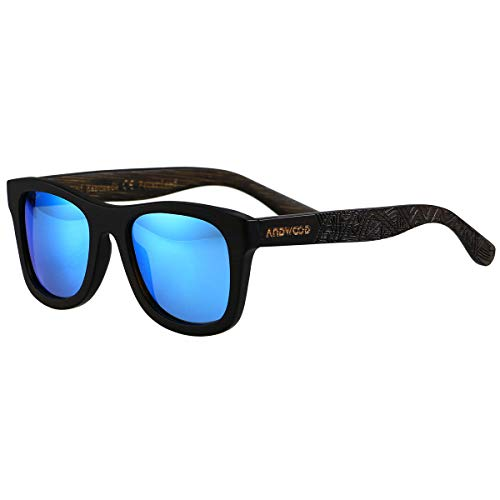 Bamboo Sunglasses Floating for Men Women Wood Sunglass Wooden Frame Polarized Vintage Black Blue BANDEN ()