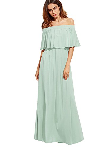 Dress Romantic Ruffle (Milumia Women's Off The Shoulder Layered Ruffle Dress (Small, Green))