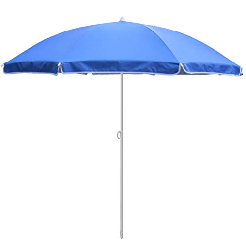 (Beach Umbrella 6.5ft Sand Anchor with Telescoping Pole Portable UV 100+ Protection Beach Umbrella with Carry Bag for Outdoor (6.5 FT, Solid Blue) )