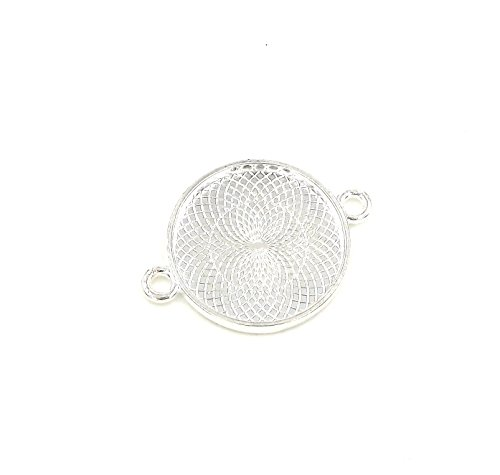 (20 Deannassupplyshop Connector Circle Pendant Trays - Silver Color - 1 Inch - 25mm - Pendant Blanks Cameo Bezel Settings Photo Jewelry - Custom Jewelry Making - 1