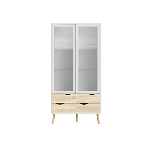 Tvilum 7546249ak Diana 4 Drawer and 2 Door Glass China Cabinet White/Oak Structure -