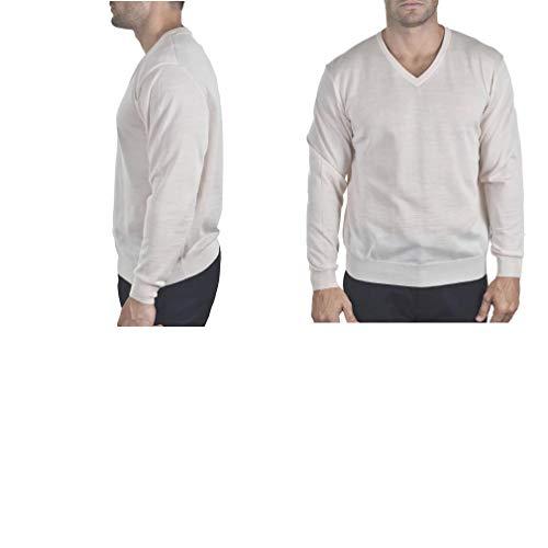 Enzo Mantovani - Men's Merino Wool - Fine Gauge V-Neck Sweater - Made in Italy - Wool Argyle Merino Sweater