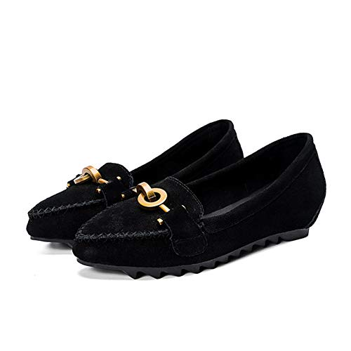 shoes FLYRCX shoes metal flat fashion ladies Pointed buckle work casual single leather comfortable A shoes tRqRFwS