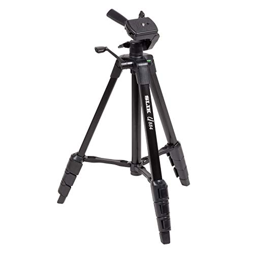 SLIK U884 4-Stage Compact Lightweight Folding Aluminum Travel Portable DSLR/SLR Video/Camera Tripod with 3-Way Pan Head for Canon Nikon Sony Cameras with Carry Case - Black (612-687)