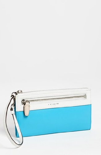 Coach Legacy Leather Zippy Wristlet Wallet Bag Blue