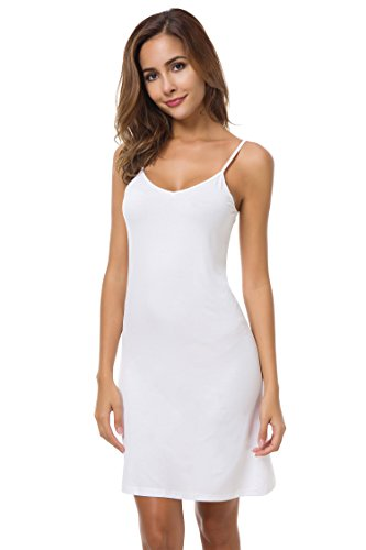 EaseWay Women's Basic Adjustable Spaghetti Strap Cami Under Mini Dress (Cami Under)