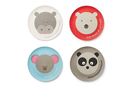 Red Rover 20017 Animal Bamboo Kid's Plates Set of 4 Multicolor ()