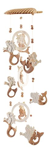 Clay Motif - Clay Motif Coastal Mermaids Holding Starfish 18 Inch Wind Chimes Garden Decor