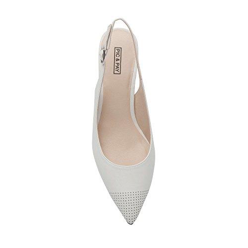 Heel Perforated Hazel Slingback Women's Comfortable Cap Leather White Pump Toe Low UxSwA