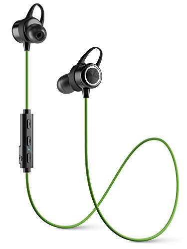Diginex Bluetooth Earbuds Wireless Magnetic Headset Sport Earphones for Running IPX7 Waterproof Headphones 9 Hours Playtime High Fidelity Stereo Sound and Noise Cancelling Mic 1 Hour Recharge Green