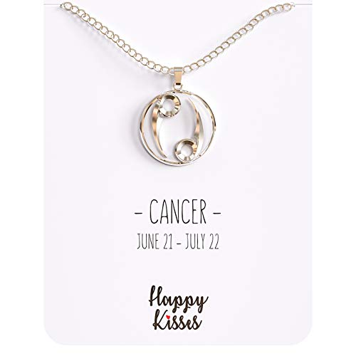 Sign Horoscope Zodiac Cancer (Happy Kisses 12 Constellation Zodiac Necklace - Astrology Horoscope Pendant - Silver or Gold with Message Card - Birthday (Cancer Silver))