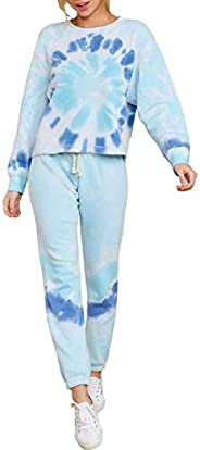 HAPCOPE Women's 2pcs Tie Dye Sweatsuit Pullover Shirts Drawstring Sweatpants