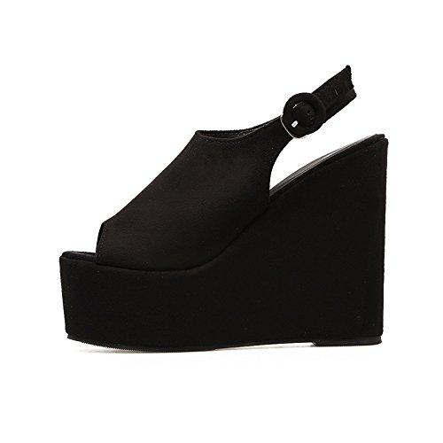 retro impermeable verano La de con gruesas black ZHZNVX ultra el y hill sandalias sandalias con primavera de pescado zapatos alta Taiwán mujer bizcocho boca TBTxqIZ