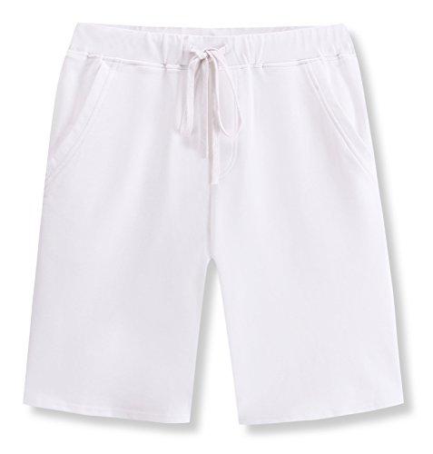 Janmid Men's Casual Classic Fit Cotton Elastic Jogger Gym Shorts White - Short Drawstring Cotton Fleece