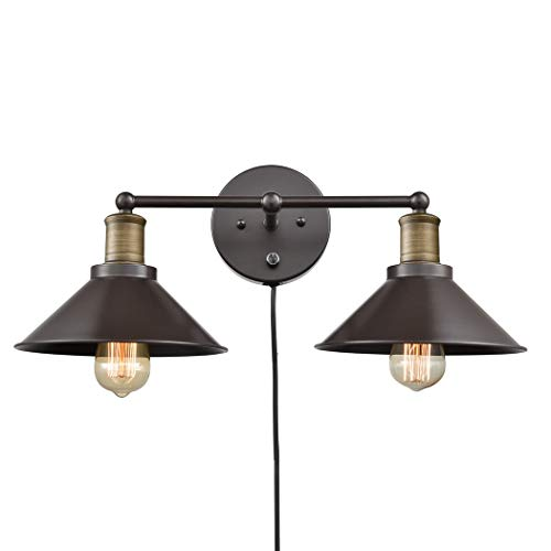 CLAXY Industrial 2-Light Wall Sconces Hardwired or Plug-in Wall Lights