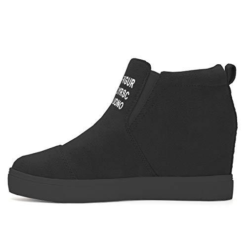 Athlefit Women's Hidden Wedge Sneakers High Heel Slip On Platform Loafers Size 6.5 Black