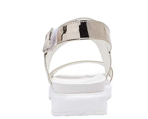Velcro AgooLar à Talon Femme GMBLB014648 Bas Sandales Ouverture d'orteil Doré PU Cuir CHCxATqtwR