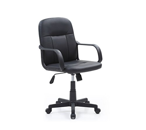 Hodedah Mid-Back, Adjustable Height, Swiveling Office Chair Upholstered in Black PU (Not Upholstered Office Chairs)