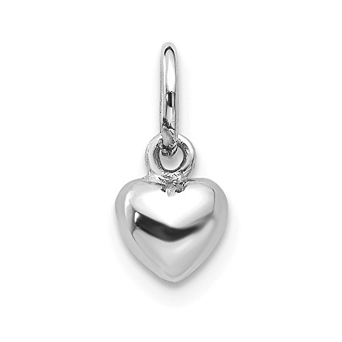 14kt White Gold Solid Polished Plain Puffed Heart Charm