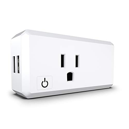 Wonbo WiFi Smart Plug Works with Alexa Google Home IFTTT, USB Mini Wifi Outlet with Timer Function, Remote Control Your Home Appliances from Anywhere, No Hub Required