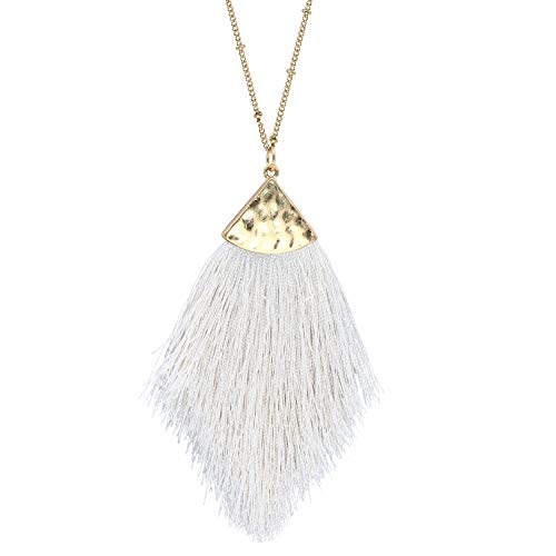 - Ivory White Tassel Long Necklaces for Women Statement Fringe Feather Pendant Necklace