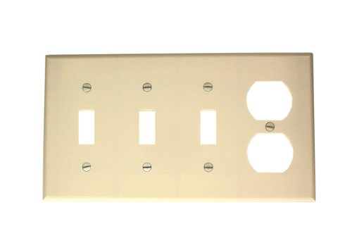 Leviton P38-T 4-Gang 3-Toggle 1-Duplex Device Combination Wallplate, Standard Size, Light Almond - 1 Gang Almond