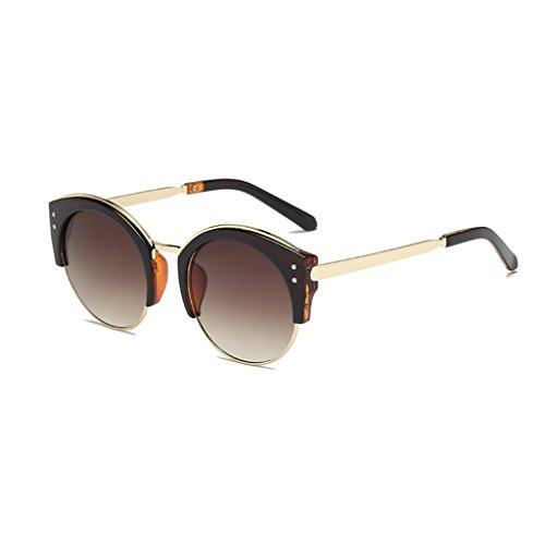 pour lunettes GAOLIXIA de sans de hommes femmes classique Lunettes de rondes protection mode dames demi soleil Brown soleil monture monture UV400 semi ptwTqRdxq
