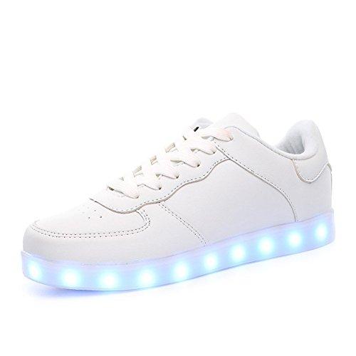 [Kirby Riffle]Women & Men USB Charging 7 Colors LED Shoes Flashing Fashion Sneakers Light Up Sport Shoes White_8.5 B(M) US Women/6 D(M) US Men