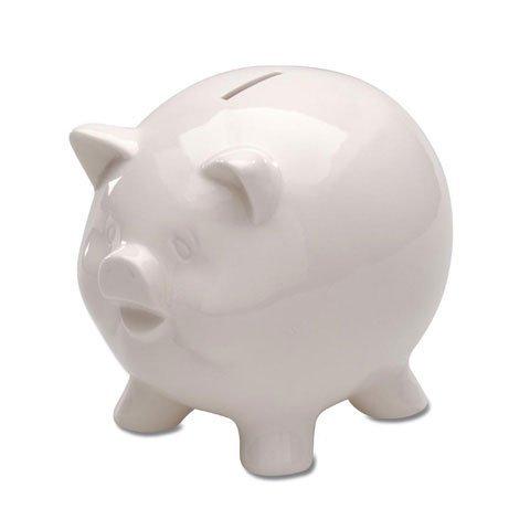 Darice Piggy Bank - Ceramic - White - 5-3/4 inches High