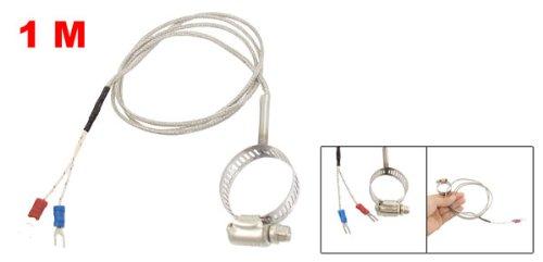 "0-400C K Type Temperature Sensors Thermocouple 1M w 1.4"" Clamp Hoopg Probe"