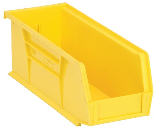 Quantum QUS224 Plastic Storage Stacking Ultra Bin, 10-Inch by 4-Inch by 4-Inch, Yellow, Case of 12