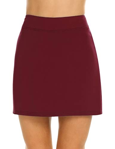 Ekouaer Sport Fitness Skorts with Underneath Lightweight Skirts for Women Workout Red S ()