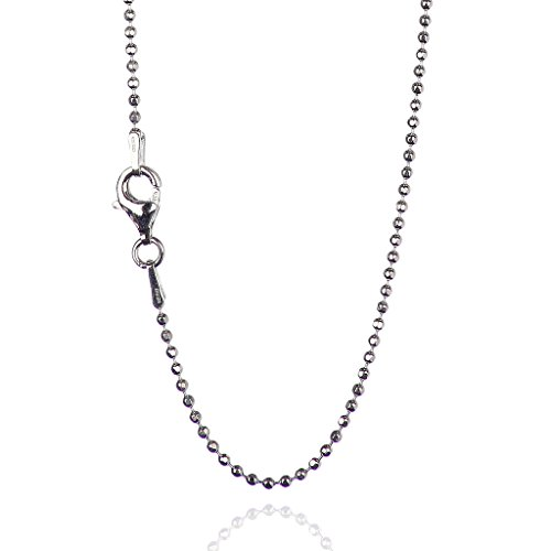 925 Sterling Silver 1.50 mm Diamond-Cut Bead Chain Necklace With Pear Shape Clasp-RHODIUM (Diamond Cut Bead Chain)