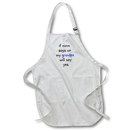 3dRose apr_192428_1 If Mom Says No, Grandpa Says Yes, Black Letters on White Background Full Length Apron with Pockets, 22 by 30-Inch, White