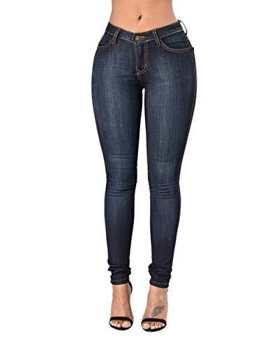 Jeans Dunkel Cintura Libre Delgado Casuales Rectos Alta Delanteros Pantalones Battercake Lápiz Al Vaqueros Estiramiento Mujer Aire Blau Botón Mujeres De dtqwApTU