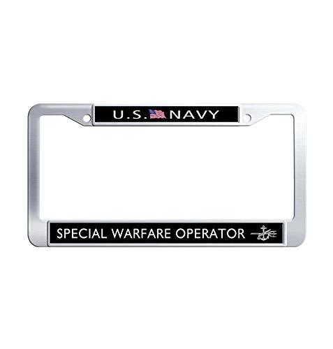 JiuznsFrame US Navy Special Warfare Operator License Plate Frame, Waterproof Metal Stainless Steel License Plate Covers Holder with Screw Caps