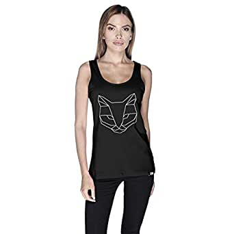 Creo Cat Animal Tank Top For Women - L, Black