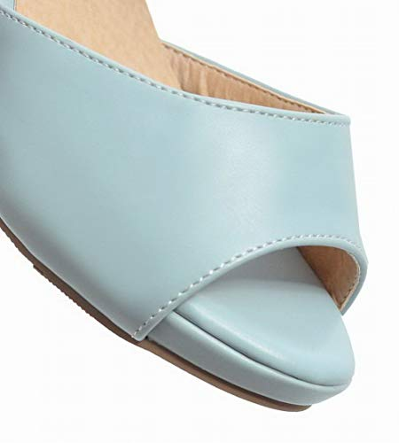 Femme PU AgooLar Velcro Cuir Talon Bleu Unie à GMBLB015406 Sandales Couleur Correct S6qB1w1