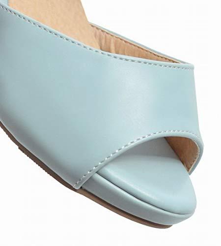 Sandales Bleu Couleur à Velcro Talon TSFLH007844 Unie Femme Correct AalarDom 0wz7n17q