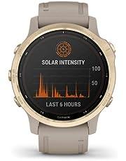 Garmin Fenix 6s Pro Solar Edition Smartwatch, Light Gold/Light Sand