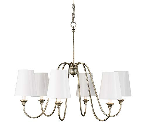 Currey and Company 9110 Orion - Six Light Chandelier, Silver Leaf Finish