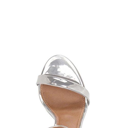 Fsj Femmes Basique Sandales À Talons Hauts Avec Ouvert Orteil Bride À La Cheville Parti Bal Chaussures De Danse Taille 4-15 Us Argent