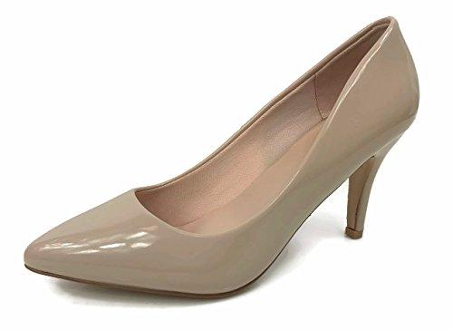 Womens Sadie Sanzi-2 Pumps Mid To Low Heel Slip On Shoes, Beige Patent, (Patent Pumps)